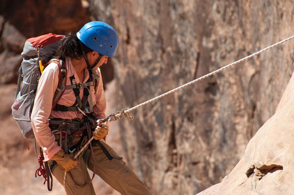 women climber with harness